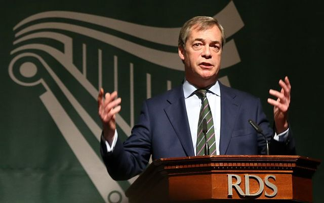 Founder and former leader of the right-wing UKIP Eurosceptic party, Nigel Farage, speaking in Dublin.