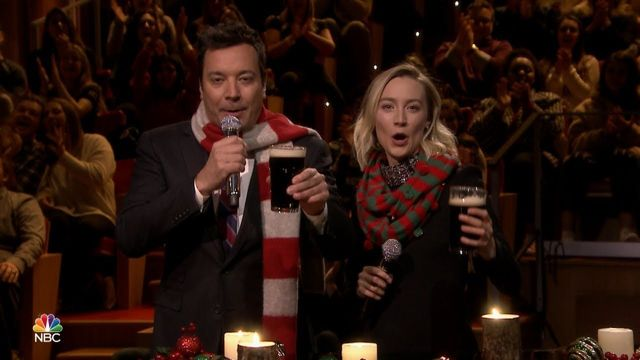 "Jimmy Fallon and Saoirse Ronan sing ""A Fairytale of New York\"" on \""The Tonight Show\""."