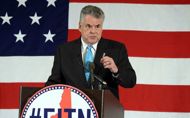 U.S. Rep. Peter King (R-NY) speaks at the First in the Nation Republican Leadership Summit April 17, 2015, in Nashua, New Hampshire.