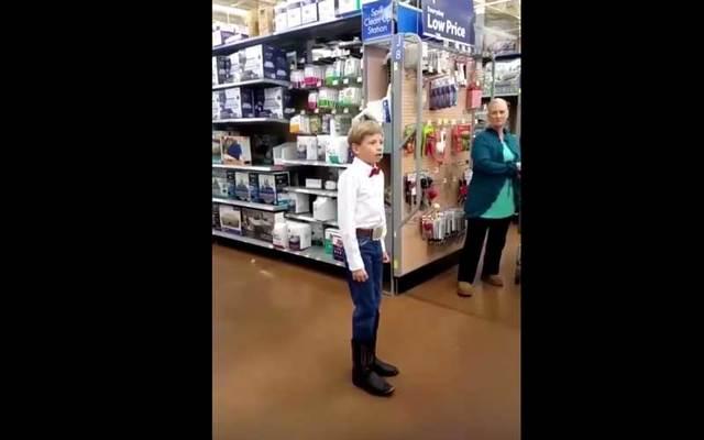 "Mason Ramsey, 12, performing Hank Williams\' \""Lovesick Blues\"" in a Walmart in Illinois."