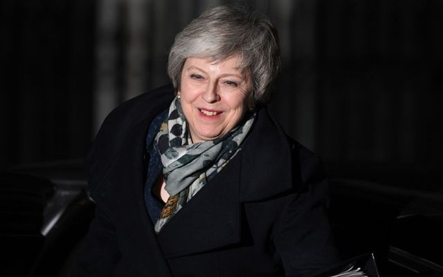 British Prime Minister Theresa May returns to Downing Street after the Confidence Vote in her leadership on December 12, 2018 in London, England.