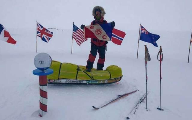 Colin O\'Brady at the South Pole.