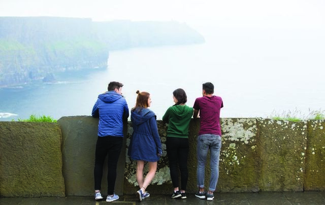 Visitors at the Cliffs of Moher