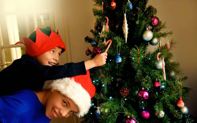 Two young brothers with red hat and Santa\'s helper hat make Christmas tree. \n