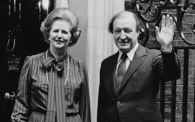 Margaret Thatcher and Charles Haughey on the steps of 10 Downing Street in 1980.