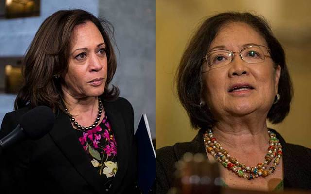 Democratic senators Kamala Harris and Mazie Hirono.