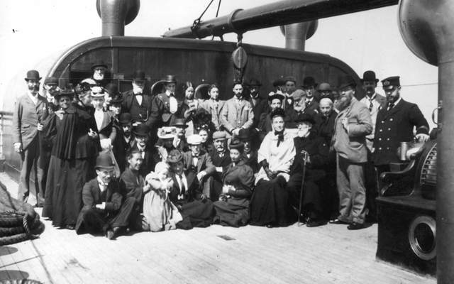July 22, 1895: Passengers and crew on board the immigrant ship SS Gallia, near Queenstown on the coast of Ireland.
