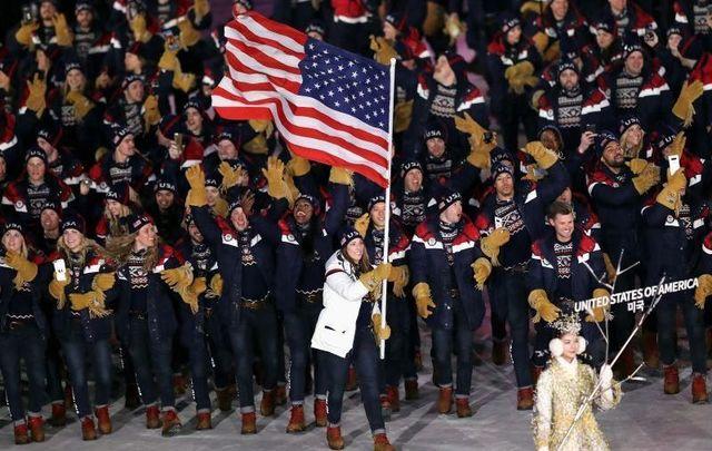 Team USA entering the 2018 Winter Olympics.