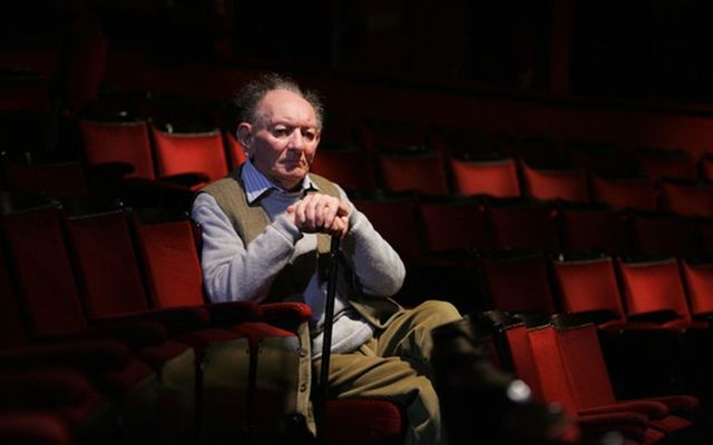 "Playwright Brian Friel pictured in the Gaiety Theatre attending the first day of rehearsals of Noel Pearson\'s new production of Friel\'s play ""Philadelphia, Here I Come!\"" in 2010."