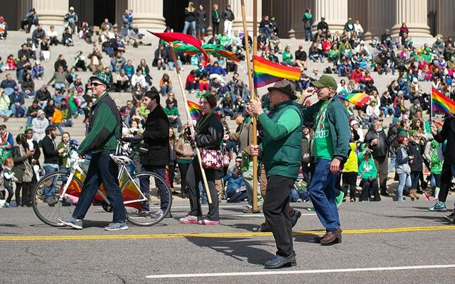 Celebrating St. Patrick\'s Day parade in Washington DC, in 2015.
