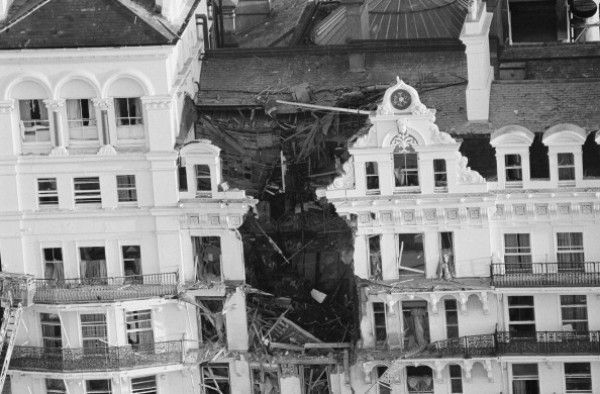The Grand Hotel in Brighton after a bomb exploded
