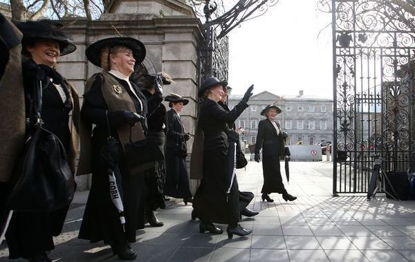 Pictured Cobh Animation Team (Bringing the women of Ireland\'s past to life) dressed as women during the 1916 period at Leinster House in Dublin for a visit.