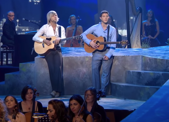 "Celtic Thunder members Keith Harkin and Colm Keegan perform Simon & Garfunkel's ""The Sound of Silence."""