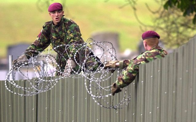 Soldiers, photographed in 1990s, protecting Northern Ireland\'s border wth the Republic of Ireland.