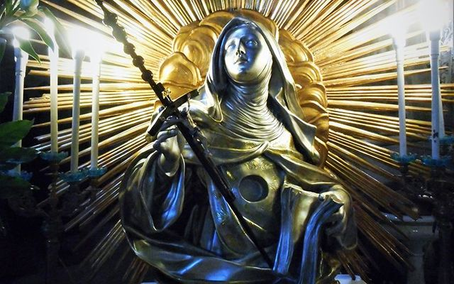A bust of St. Brigid, photographed in Naples, Italy.