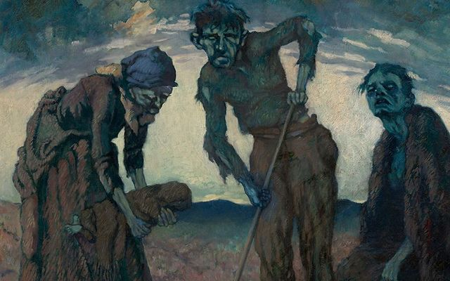 "Irish Famine art houses at the Great Hunger Museum, CT: ""Burying the Child\"" by Lilian Lucy Davidson."