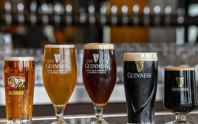 The core beer lineup at the Guinness Open Gate Brewery and Barrelhouse in Maryland