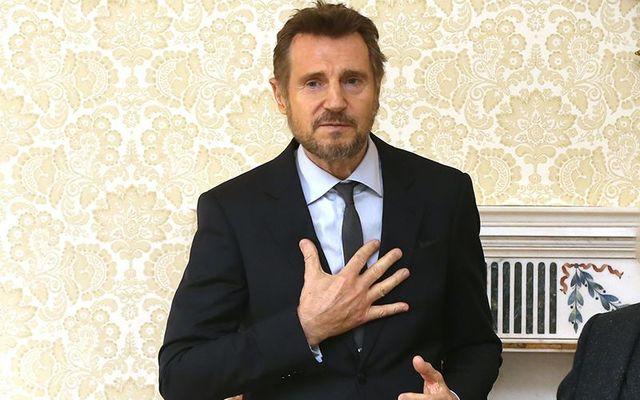 Liam Neeson at the Áras an Uachtaráin, receiving a Presidential Award from Michael D. Higgins.