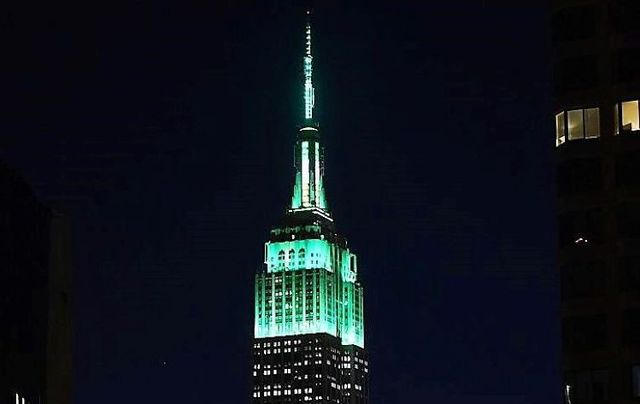 The Empire State Building in New York City lights up green for St. Patrick\'s Day