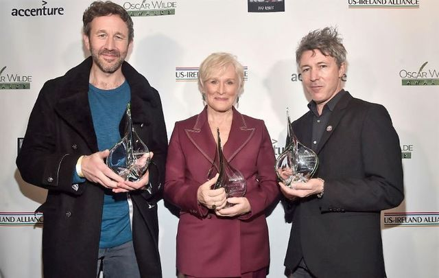 Chris O\'Dowd, Glenn Close, and Aidan Gillen at the Oscar Wilde Awards