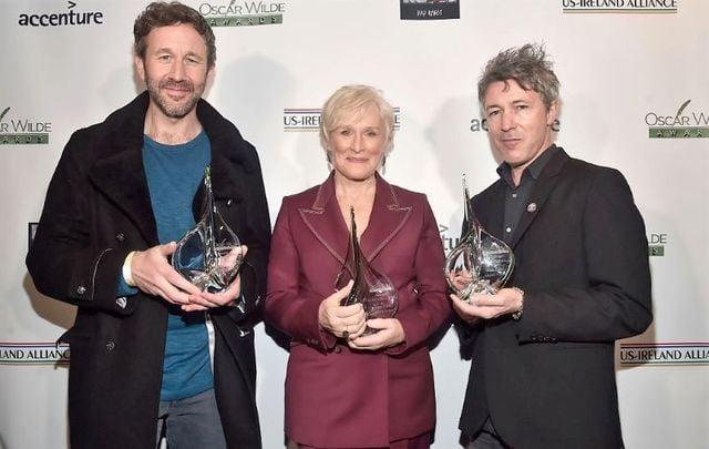 Chris O\'Dowd, Glenn Close, and Aidan Gillen at the Oscar Wilde Awards