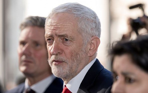 British Labour leader and Leader of the Opposition, Jeremy Corbyn (C) with the Shadow Secretary of State for Exiting the European Union Sir Keir Starmer KCB QC (L) and the Shadow Attorney General for England and Wales the Baroness Sharmishta Chakrabarti, CBE, PC (R).