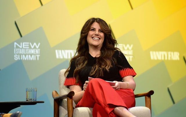 Contributing editor at Vanity Fair, Monica Lewinsky speaks onstage at Day 1 of the Vanity Fair New Establishment Summit 2018 at The Wallis Annenberg Center for the Performing Arts on October 9, 2018, in Beverly Hills, California.