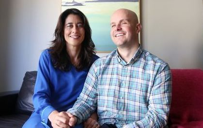 Mark Pollock with his fiancee Simone George at their home in Ranelagh Dublin.