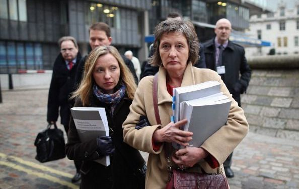 Geraldine Finucane, (R) and daughter Katherine Finucane (L) and other members of the Finucane family arrive at Methodist Central Hall to make a statement to the press on December 12, 2012, in London, England.