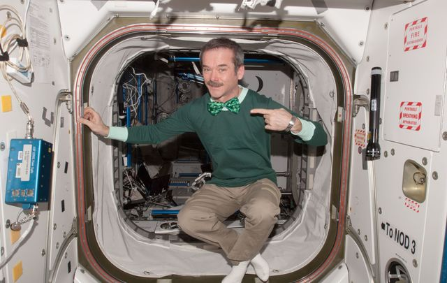 Astronaut Chris Hadfield celebrating St Patrick\'s Day on the International Space Station.