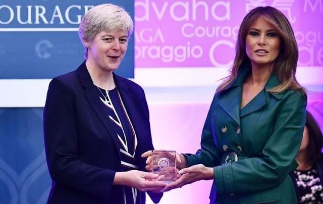 First Lady Melania Trump presents Sister Orla Treacy with her award