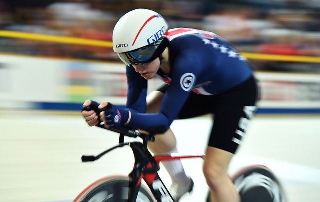 US Kelly Catlin competes in the women\'s individual pursuit bronze medal race during the UCI Track Cycling World Championships in Apeldoorn on March 3, 2018.