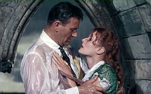 "John Wayne and Maureen O\'Hara stars of John Ford\'s ""The Quiet Man\""."