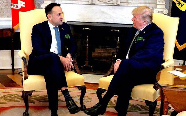 Ireland\'s Taoiseach (Irish leader) Leo Varadkar speaking with President Donald Trump, over St. Patrick\'s Day, in 2018.