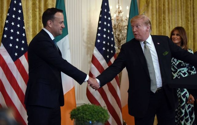 President Donald J. Trump shakes hands with Prime Minister Leo Varadkar of Ireland during the Shamrock Bowl Presentation at the White House on March 14, 2019, in Washington, D.C.