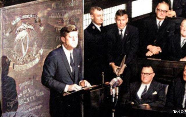 President John F Kennedy addressing Ireland\'s Parliament in 1963.