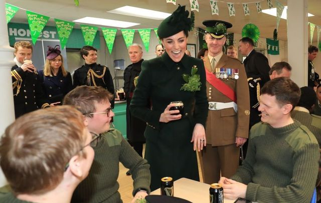Catherine, The Duchess of Cambridge meets with Irish Guards after attending the St Patrick\'s Day parade at Cavalry Barracks on March 17, 2019, in Hounslow, England.