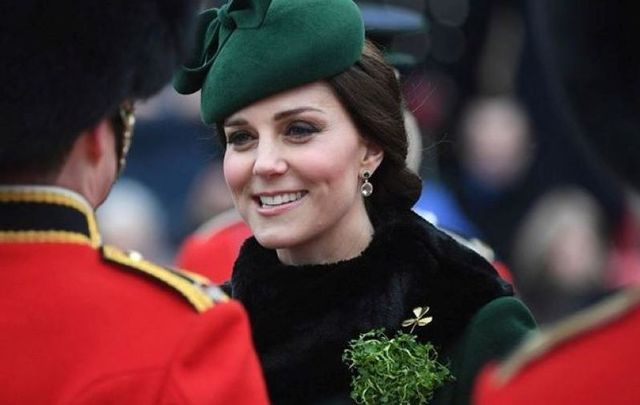 March 17, 2018: Catherine, Duchess of Cambridge attends and presents the 1st Battalion Irish Guardsmen with shamrocks during the annual Irish Guards St Patrick\'s Day Parade at Cavalry Barracks in Hounslow, England.