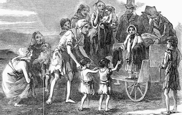 Illustration of Irish people begging for food during the Great Hunger.