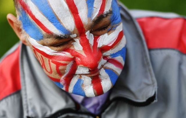 Pro Brexit demonstrator in Parliament Square on March 29, 2019 in London, England.