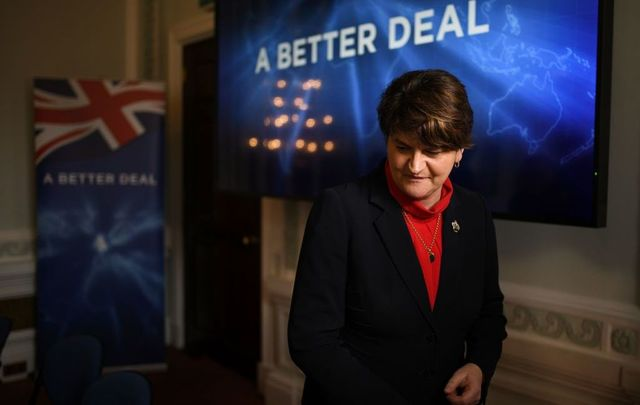 Leader of the Democratic Unionist Party (DUP) Arlene Foster after a press conference to offer an alternative Brexit plan on January 15, 2019, in London, England.