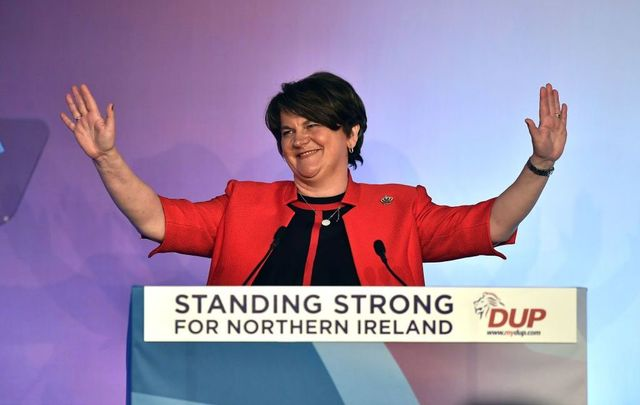 DUP leader Arlene Foster makes her keynote speech during the Democratic Unionist Party annual conference at the Crown Plaza Hotel on November 24, 2018, in Belfast, Northern Ireland.