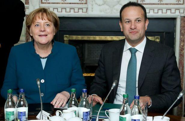 Taoiseach Leo Varadkar and German Chancellor Angela Merkel hold a round table discussion at Farmleigh House on April 4, 2019 in Dublin, Ireland.