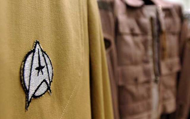 Emblem on a Star Trek uniform. Irish fans want to build a statue to honor Star Trek character Chief O\'Brien.