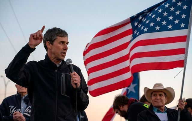 Former Texas Congressman Beto O\'Rourke speaks to a crowd of marchers during the anti-Trump \'March for Truth\' in El Paso, Texas, on February 11, 2019.\n