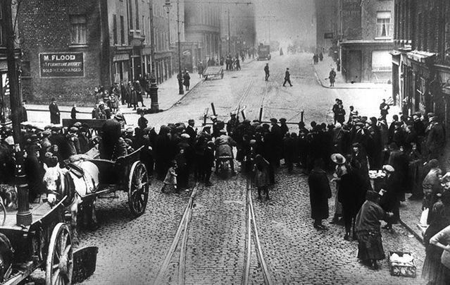 British police mount a roadblock to support a search in Dublin during the 1916 Easter Rising.\n