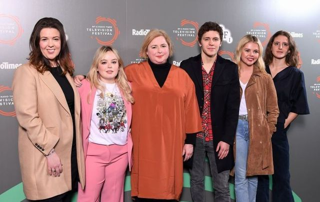 Lisa McGee (left) with some of the Derry Girls cast at the BFI and Radio Times Television Festival