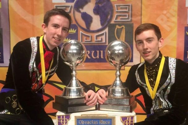 Michael and Matthew Gardiner as World Irish Dancing Champions.