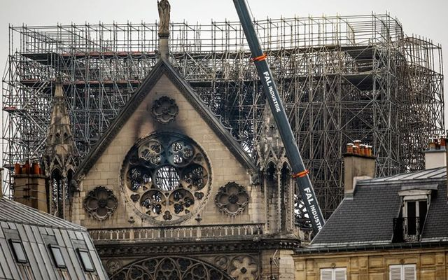 Notre Dame, Paris, after the fire which saw the roof and spire collapse.