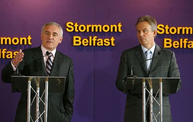 Bertie Ahern and Tony Blair speaking at Stormont during the Peace Process.
